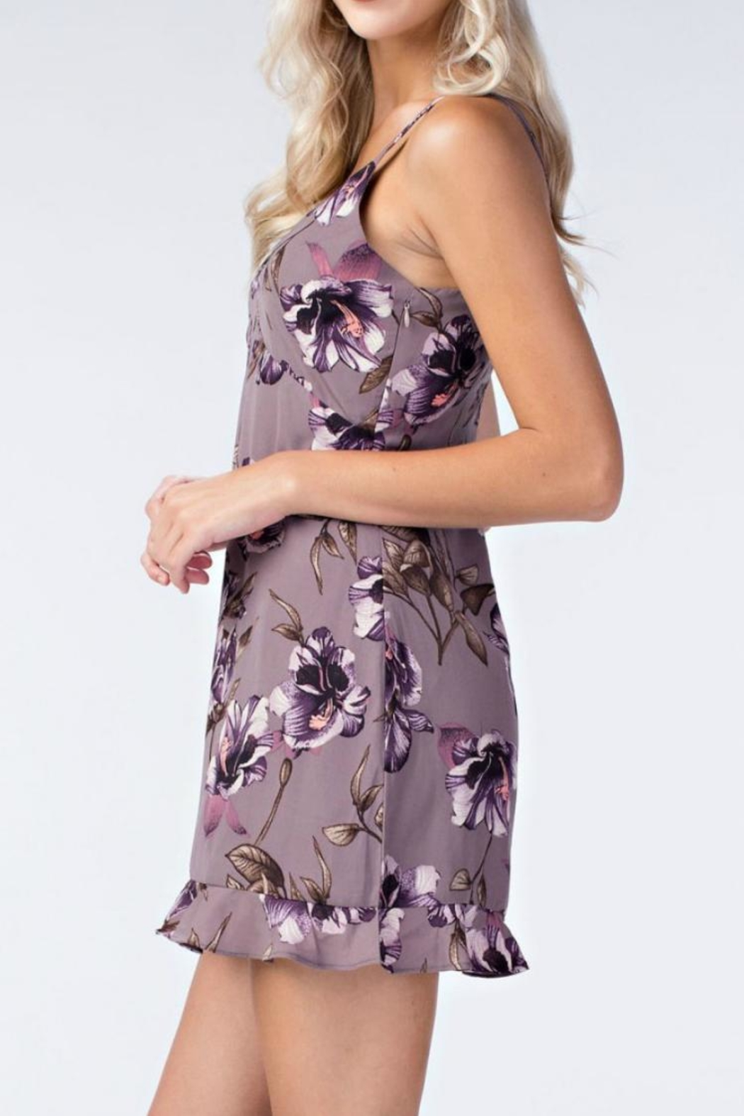 Honey Punch Floral Slip Dress - Back Cropped Image