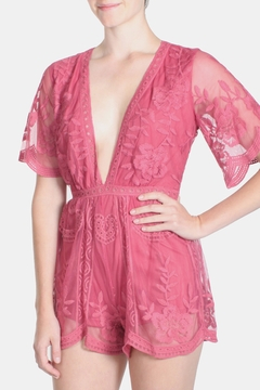 Honey Punch Fuchsia Butterfly Romper - Product List Image