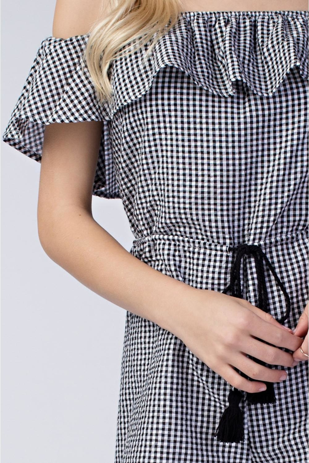 Honey Punch Gingham Romper - Back Cropped Image