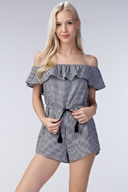 Honey Punch Gingham Romper - Front full body