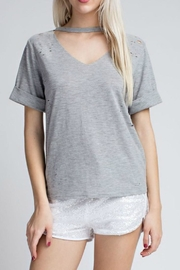 Honey Punch Grey Distressed Tee - Product Mini Image