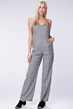 Honey Punch Grey Plaid Jumpsuit - Product List Image