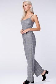 Honey Punch Grey Plaid Jumpsuit - Front full body