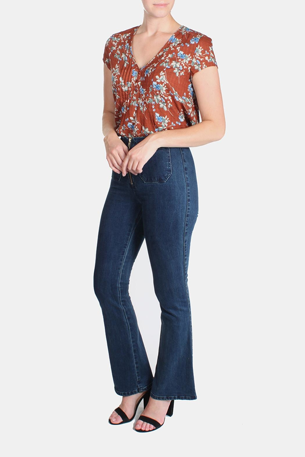 Honey Punch High Waisted Bell Bottoms - Front Full Image