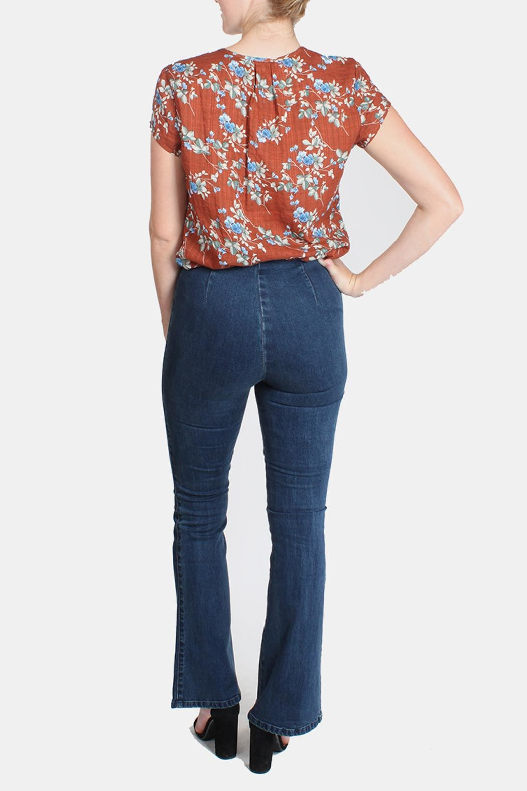 Honey Punch High Waisted Bell Bottoms - Back Cropped Image