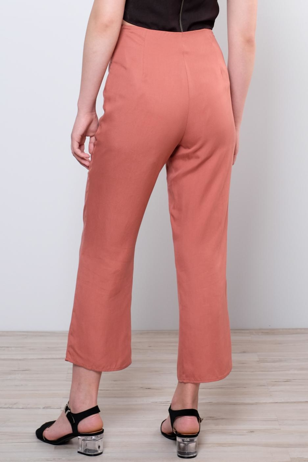 Honey Punch High Waisted Trousers - Back Cropped Image