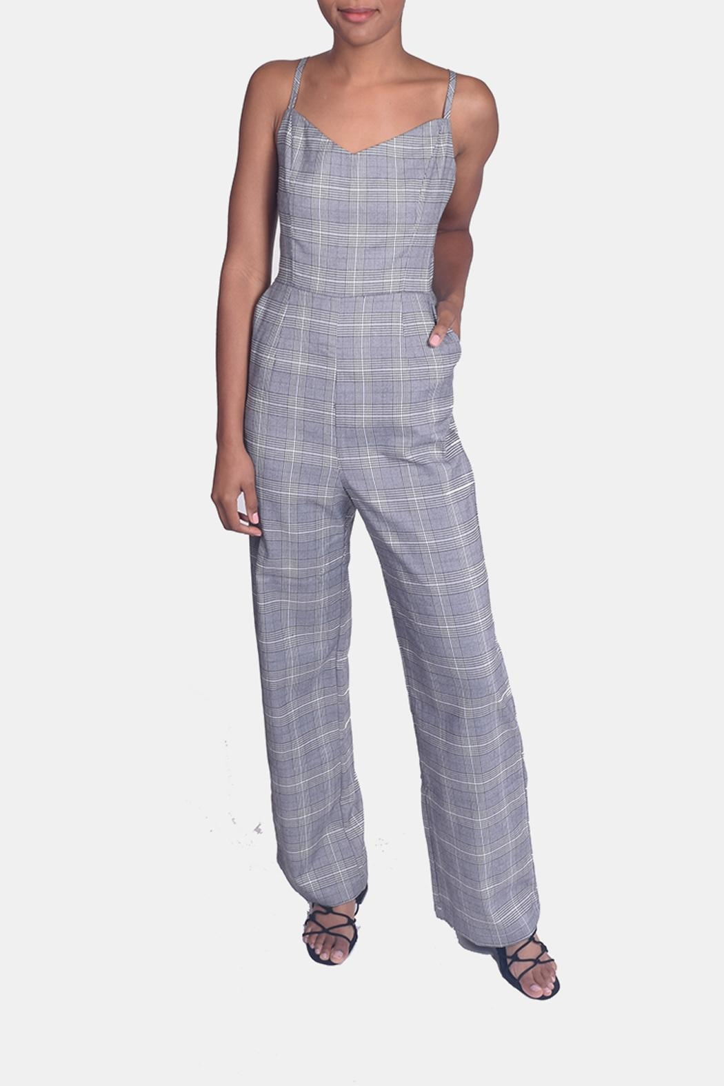 Honey Punch Houndstooth Plaid Jumpsuit - Front Full Image