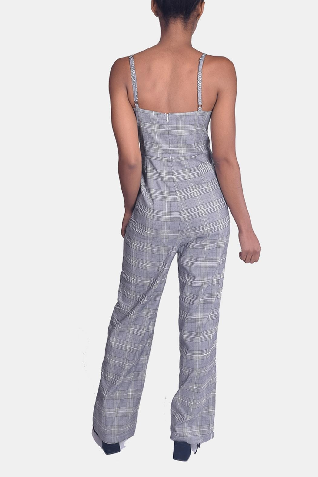Honey Punch Houndstooth Plaid Jumpsuit - Back Cropped Image