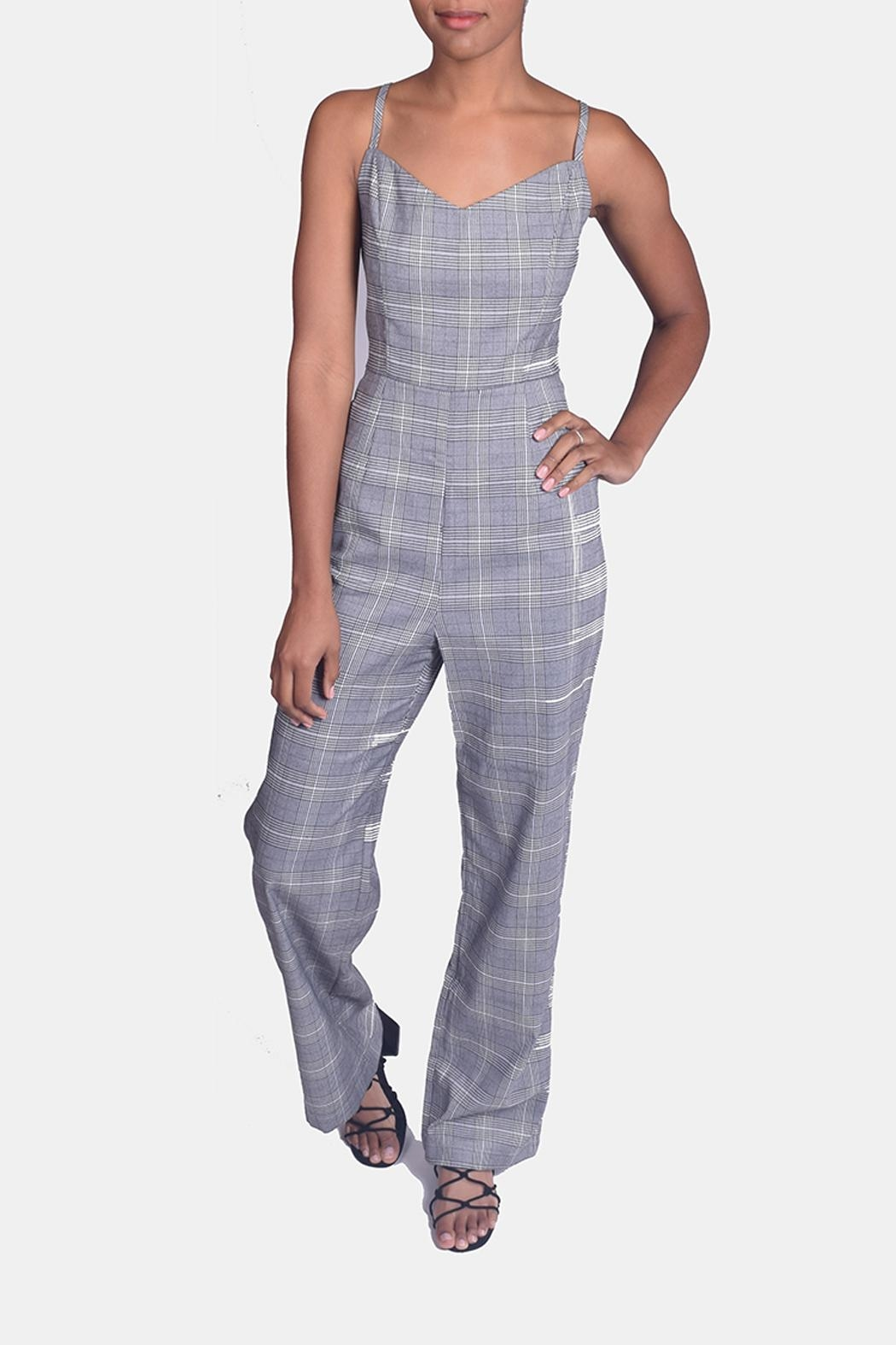 Honey Punch Houndstooth Plaid Jumpsuit - Main Image