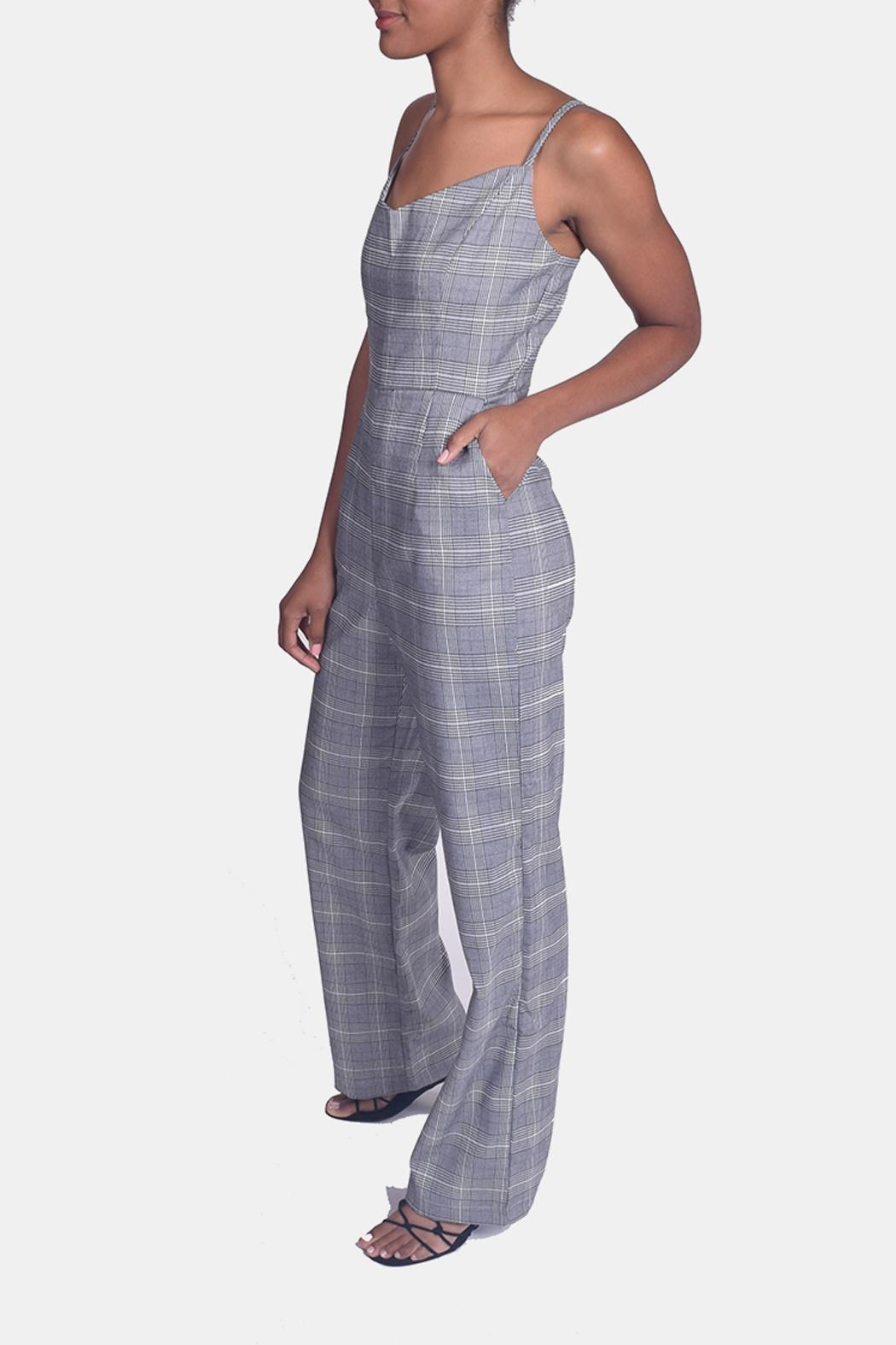 Honey Punch Houndstooth Plaid Jumpsuit - Side Cropped Image