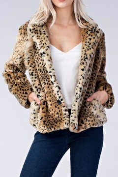 Honey Punch Leopard Faux Fur Coat - Product List Image