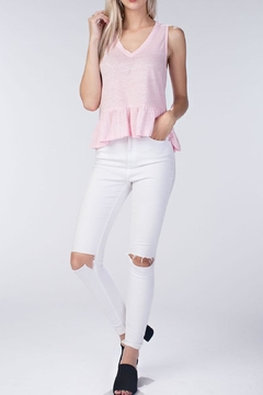 Honey Punch Pink Linen Ruffle Top - Alternate List Image