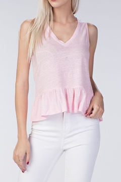 Honey Punch Pink Linen Ruffle Top - Product List Image