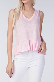 Honey Punch Pink Linen Ruffle Top - Product Mini Image