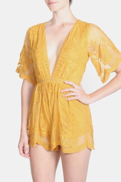 Honey Punch Marigold Butterfly Romper - Product List Image