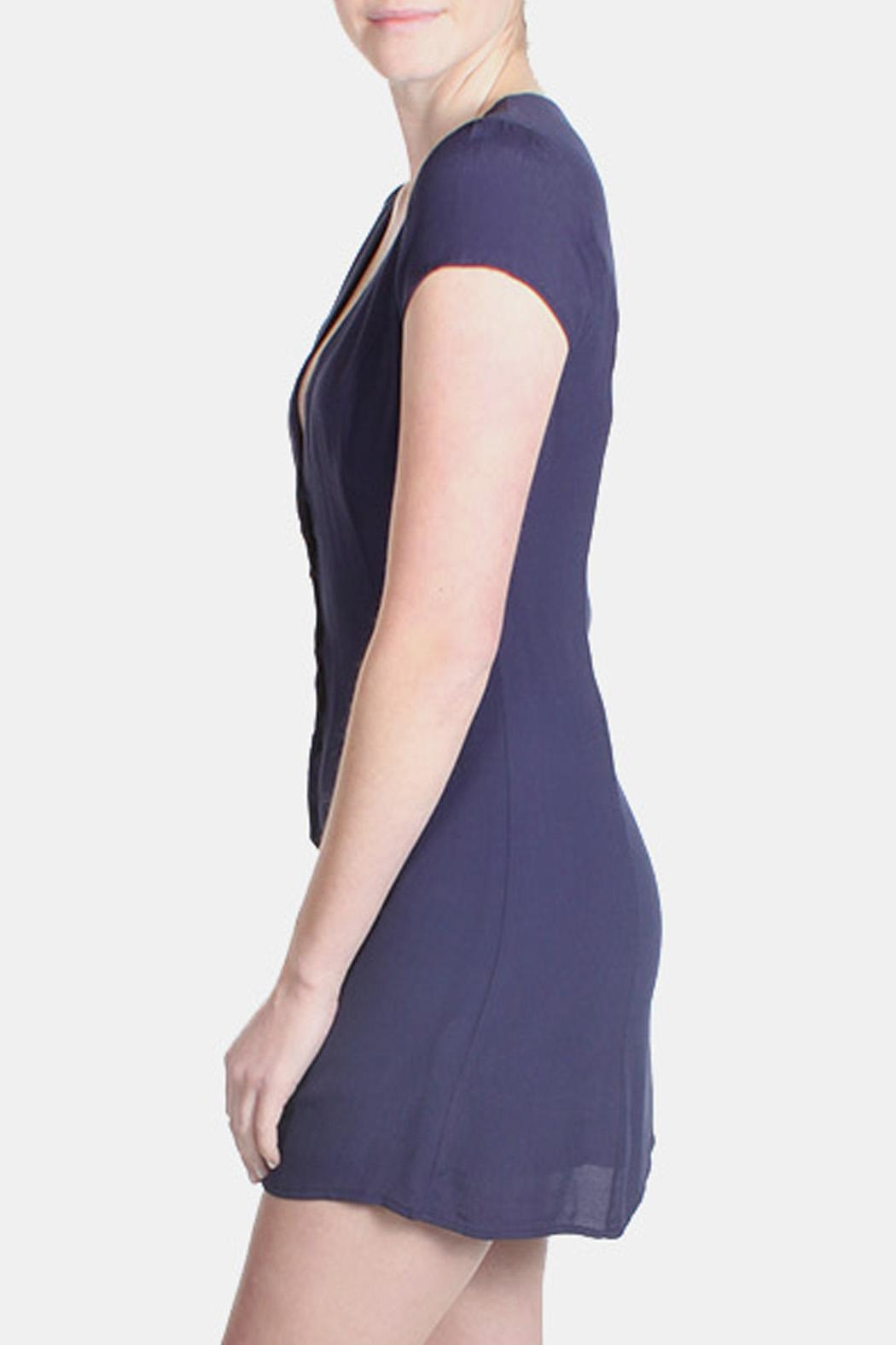Honey Punch Navy Bombshell Dress - Side Cropped Image