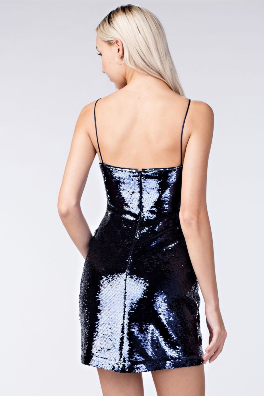 Honey Punch Navy Sequin Dress - Back Cropped Image