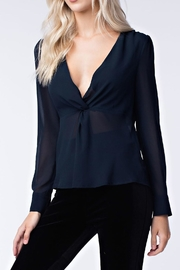 Honey Punch Navy Twist Front Top - Front full body
