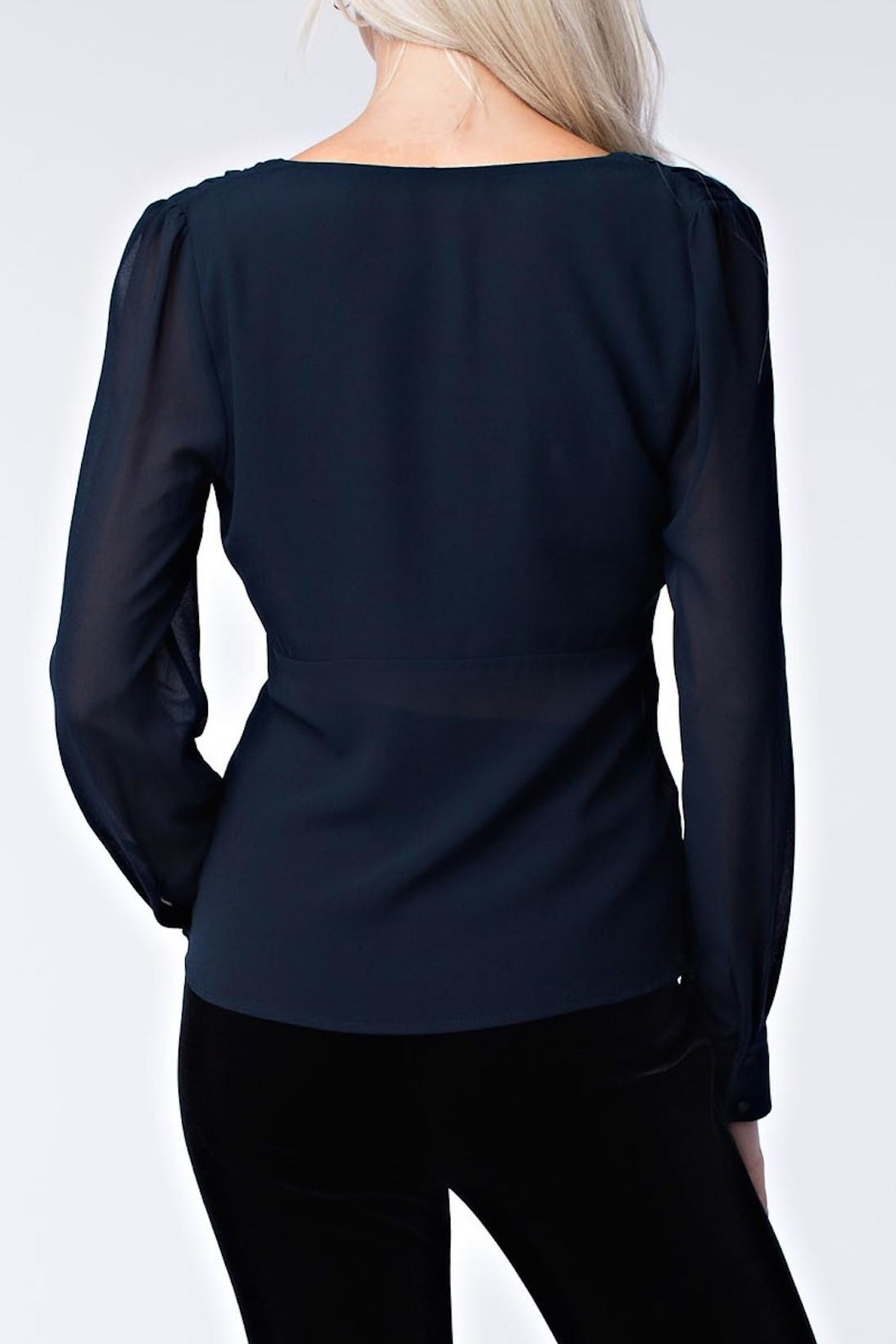 Honey Punch Navy Twist Front Top - Side Cropped Image
