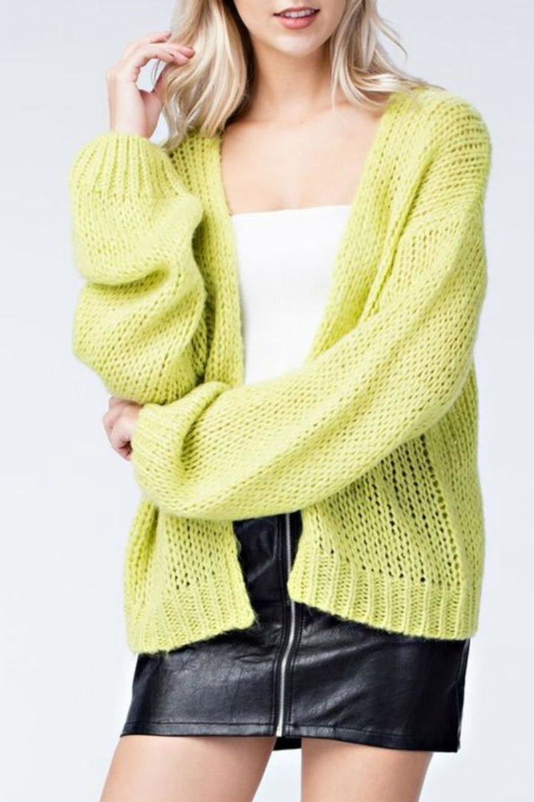 Honey Punch Neon Cardigan - Front Cropped Image