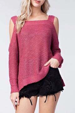 Honey Punch Open Shoulder Sweater - Product List Image