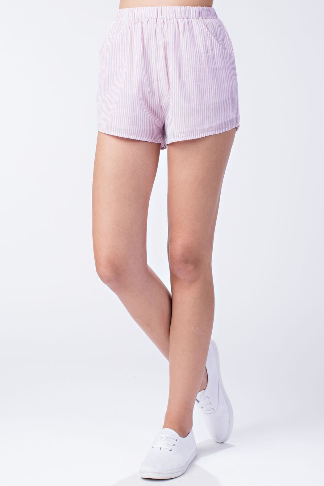 Honey Punch Pink Stripe Shorts - Front Cropped Image