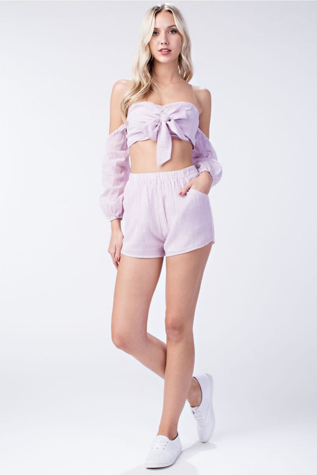 Honey Punch Pink Stripe Shorts - Front Full Image
