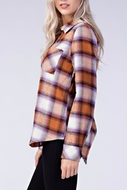 Honey Punch Plaid Button Down Shirt - Front full body