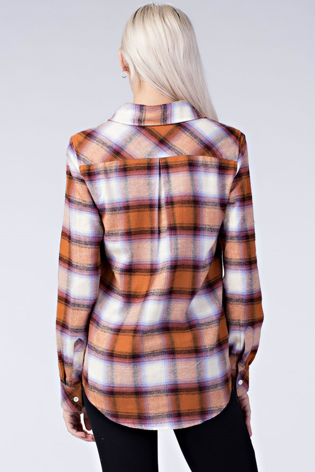 Honey Punch Plaid Button Down Shirt - Side Cropped Image