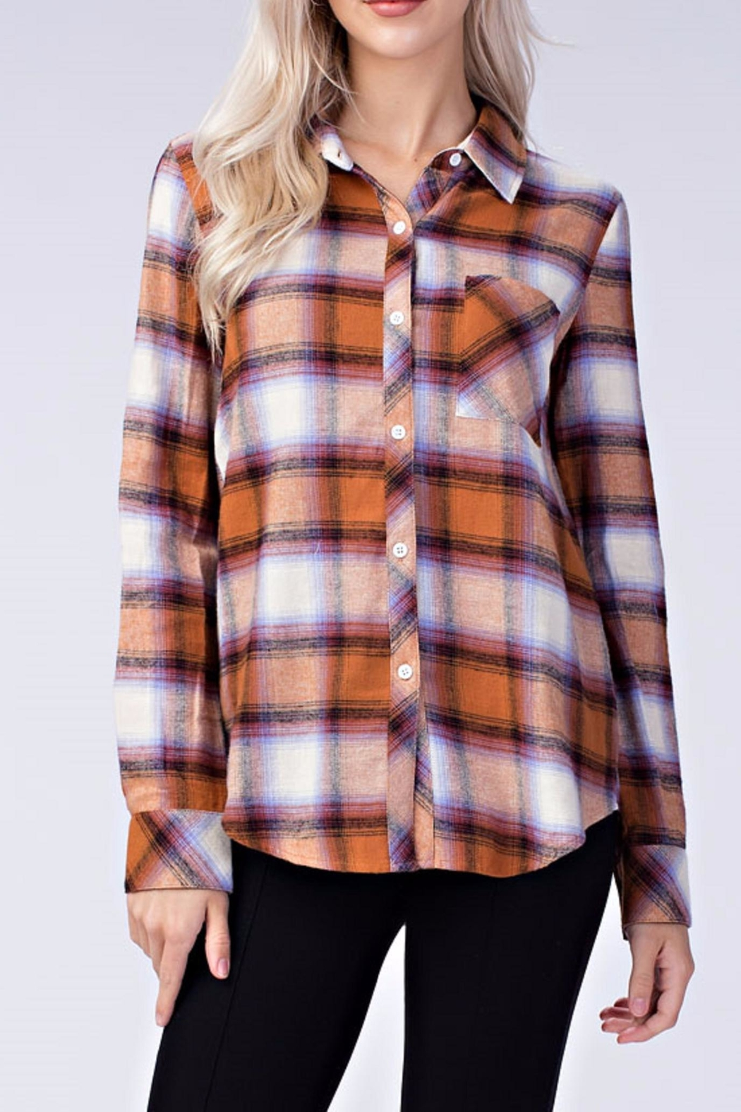 Honey Punch Plaid Button Down Shirt - Main Image
