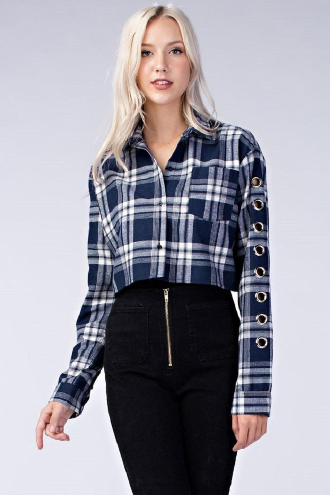 ada41013 Honey Punch Plaid Cropped Flannel Top from New York by Dor L'Dor ...