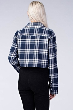 Honey Punch Plaid Cropped Flannel Top - Alternate List Image