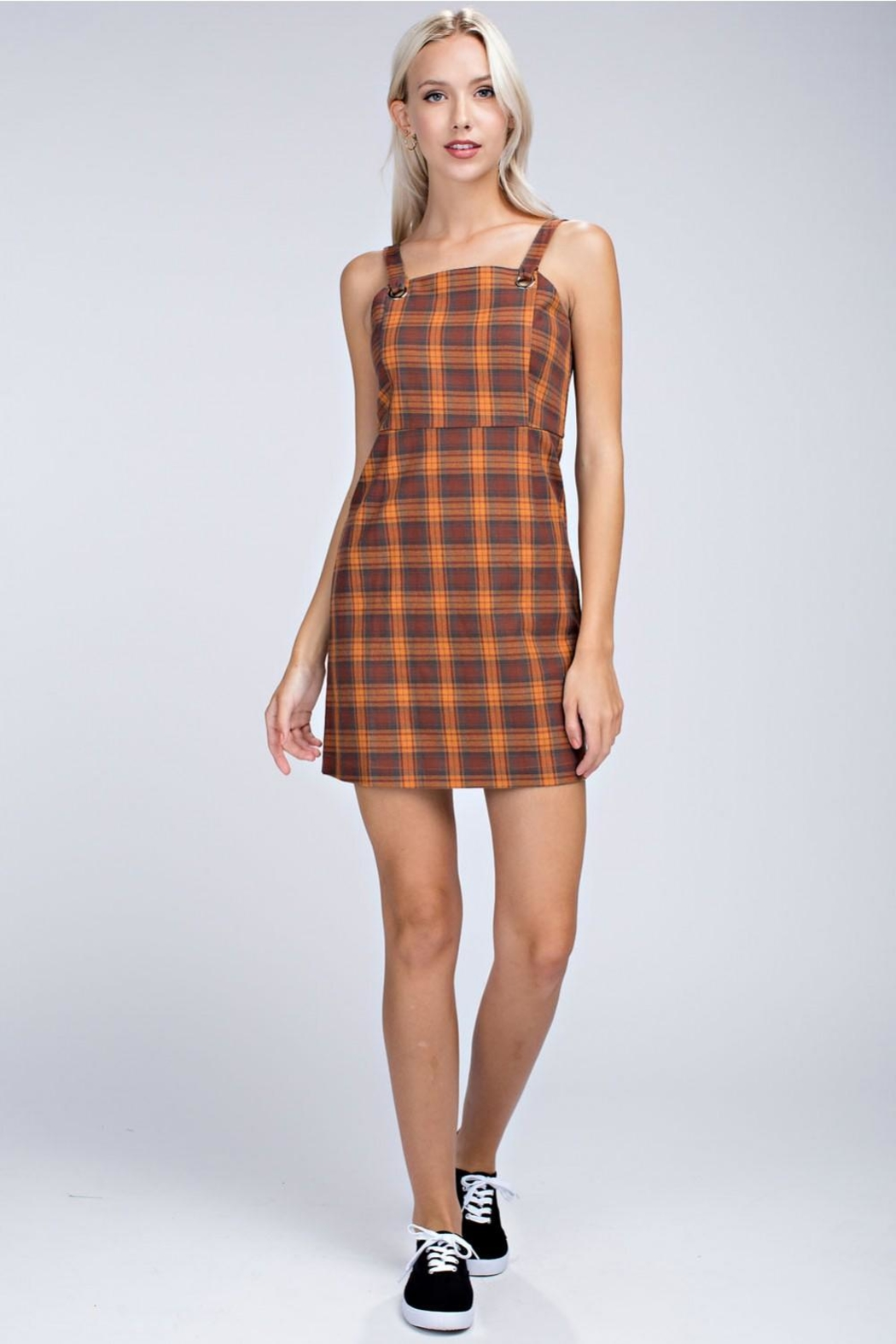 Honey Punch Plaid Overall Dress - Main Image