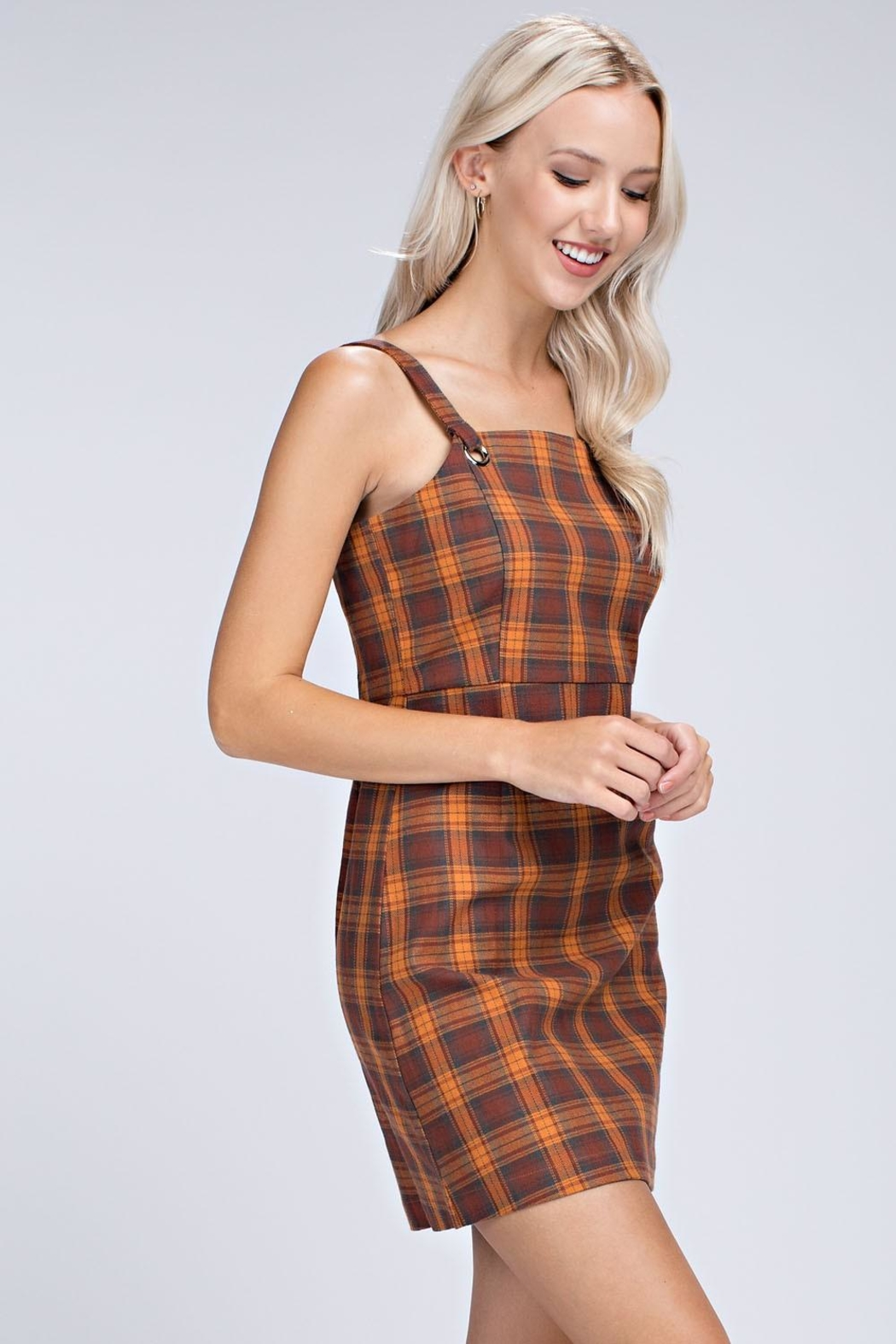 Honey Punch Plaid Overall Dress - Side Cropped Image