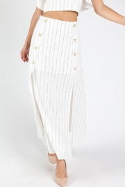 Honey Punch Play-Fair White-Stripe Maxi-Skirt - Front cropped