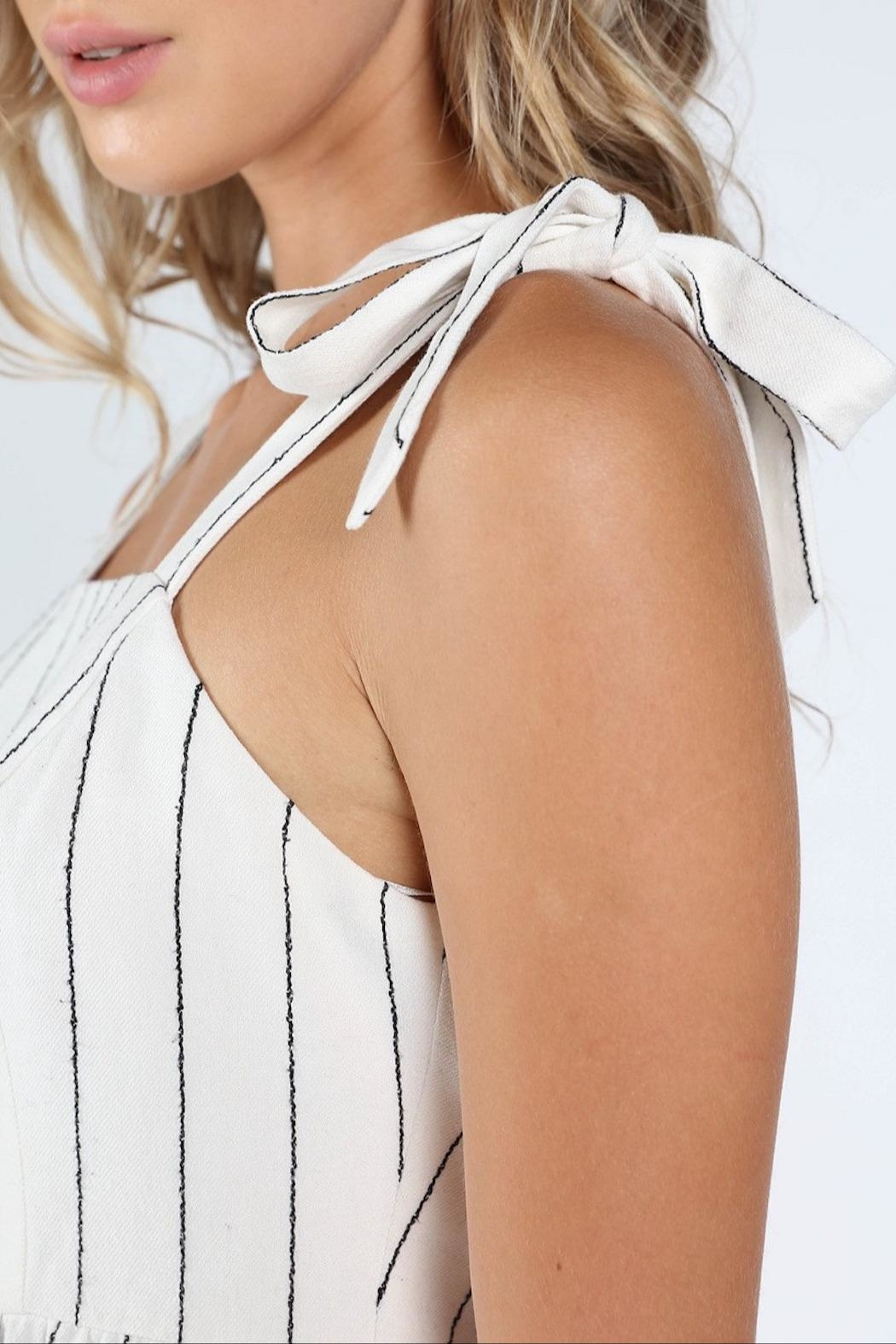 Honey Punch Play-Fair White-Stripe Top - Back Cropped Image