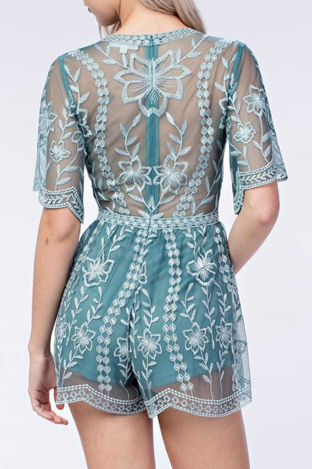 Honey Punch Plunge Lace Romper - Front Full Image