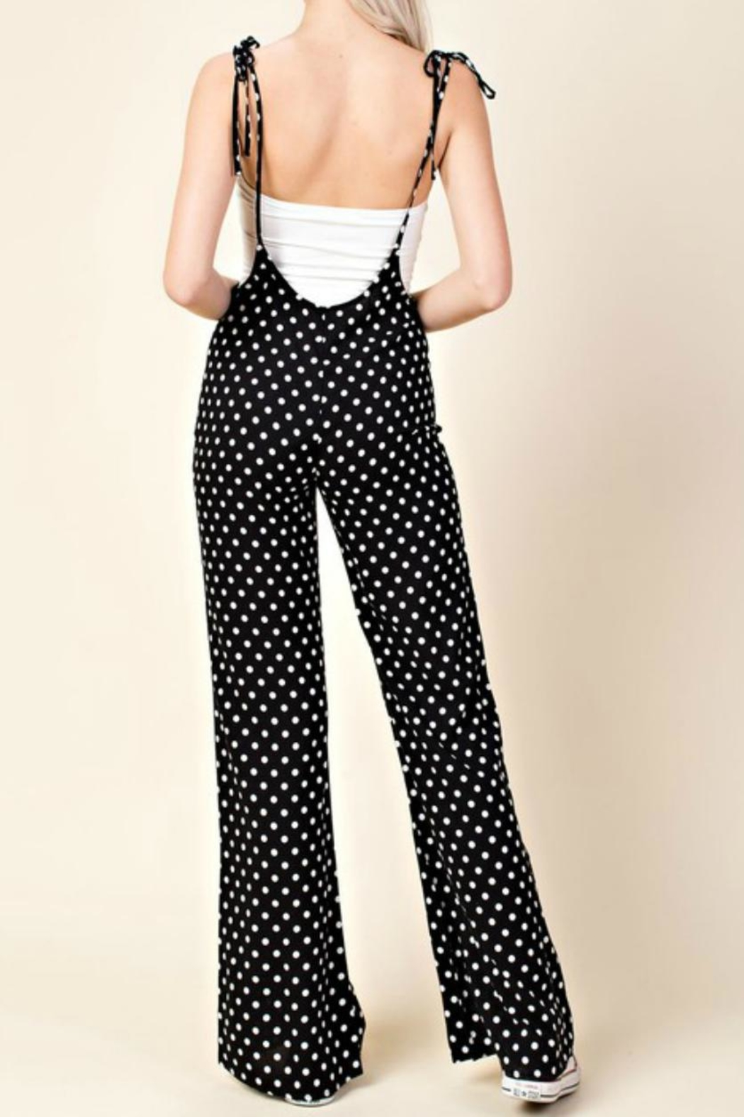 Honey Punch Polka Dot Jumpsuit - Front Full Image