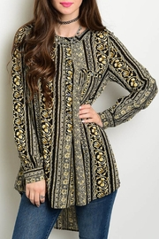 Honey Punch Print Tunic Blouse - Product Mini Image