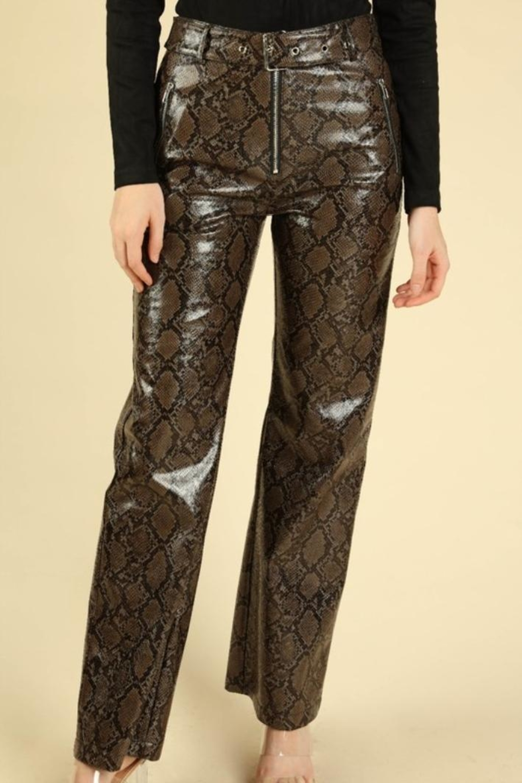 Honey Punch Python Leather Pants - Front Cropped Image
