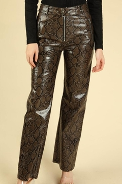 Honey Punch Python Leather Pants - Product List Image