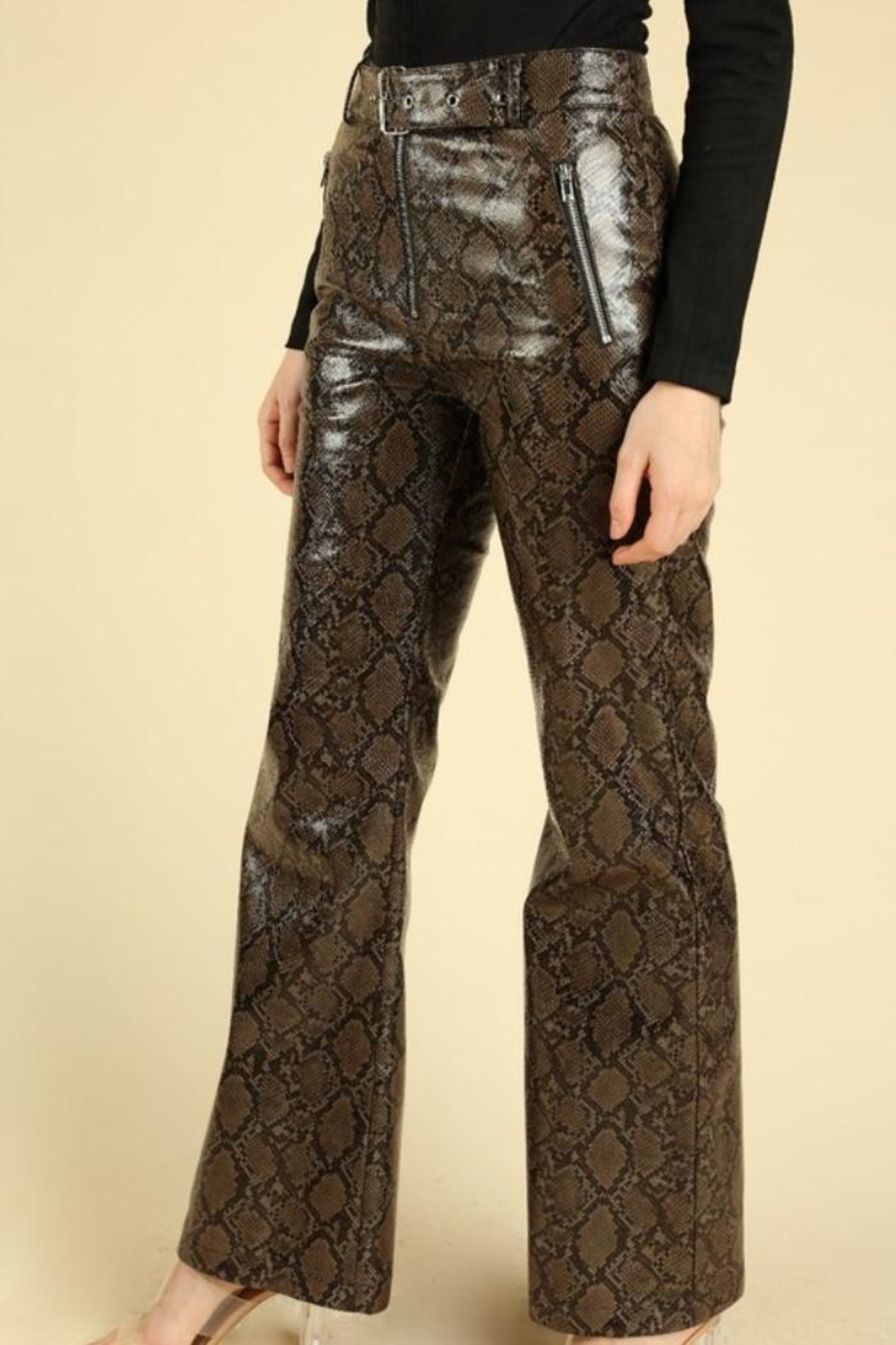 Honey Punch Python Leather Pants - Front Full Image