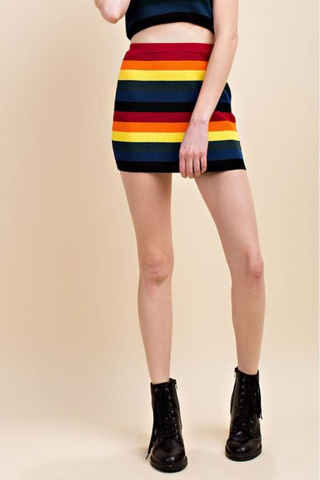 Honey Punch Rainbow Skirt - Front Cropped Image