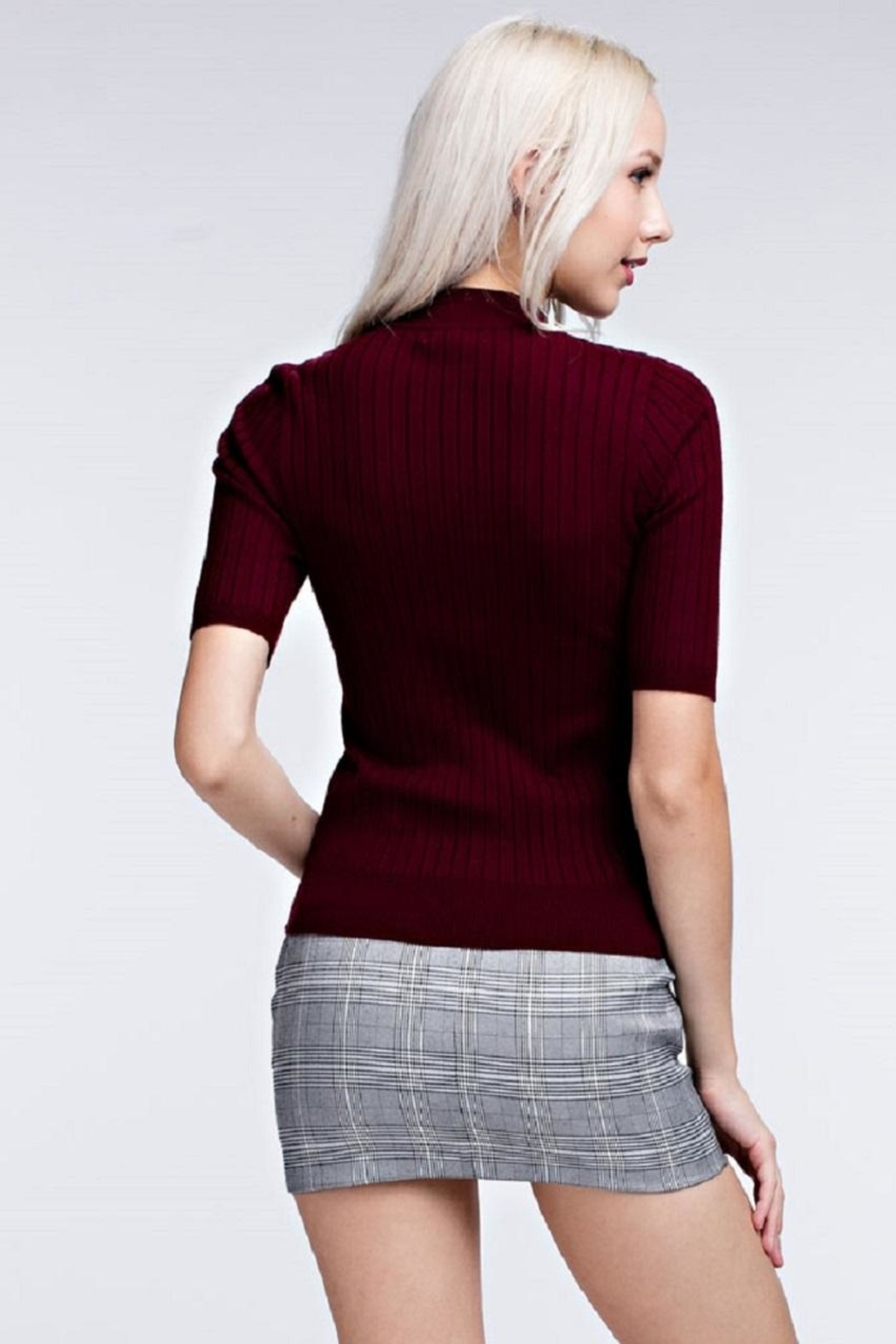 Honey Punch Ribbed Mock Neck Top - Front Full Image
