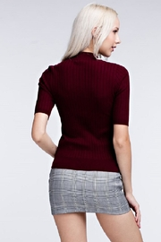 Honey Punch Ribbed Mock Neck Top - Front full body