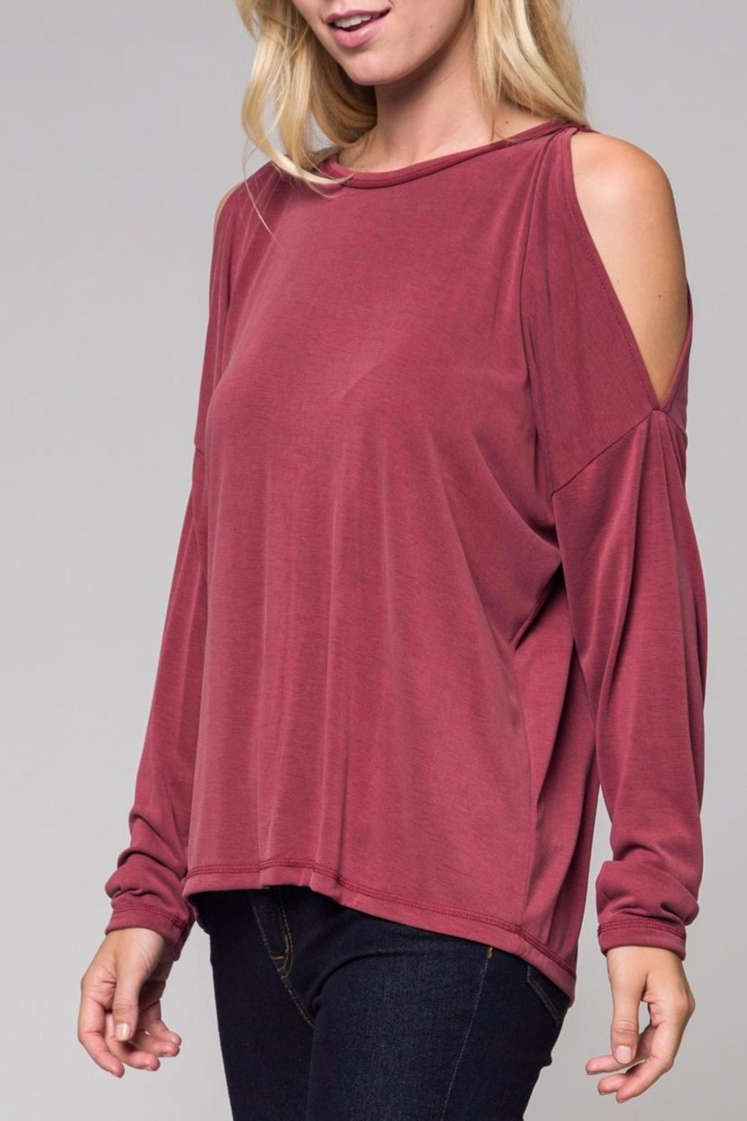 Honey Punch Rose Cold-Shoulder Top - Front Cropped Image