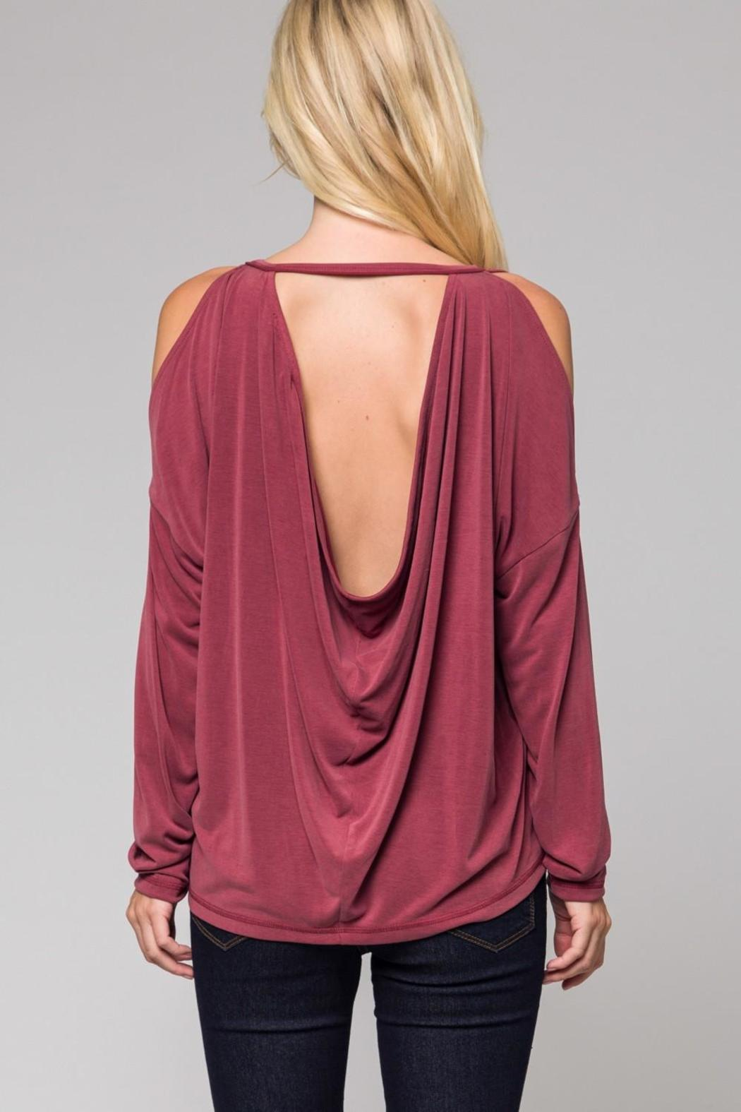 Honey Punch Rose Cold-Shoulder Top - Front Full Image