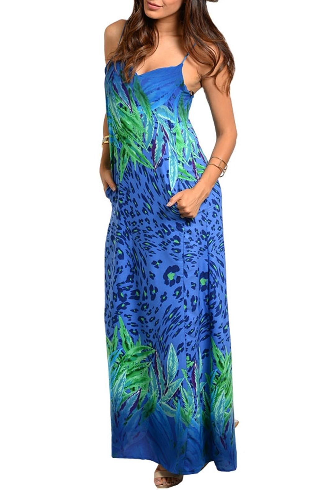 Honey Punch Royal Tropical Dress - Front Cropped Image