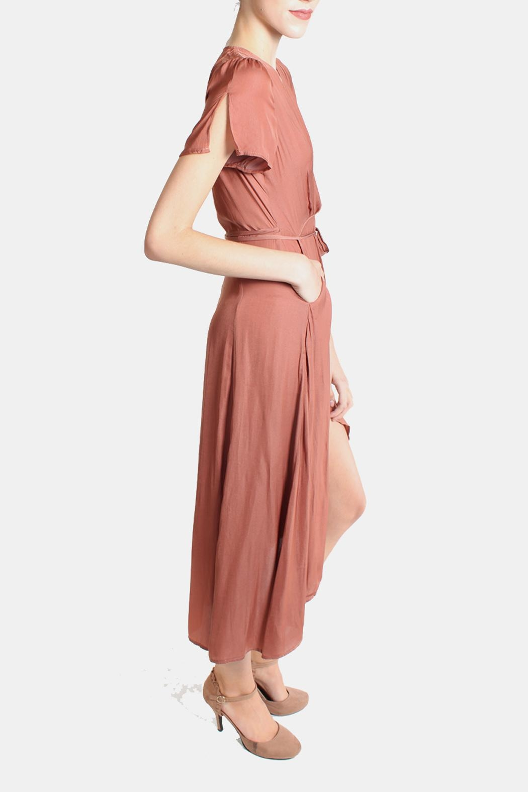 Honey Punch Rust Autumn Wrap Dress - Side Cropped Image