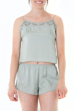 Shoptiques Product: Scalloped Green Camisole Top